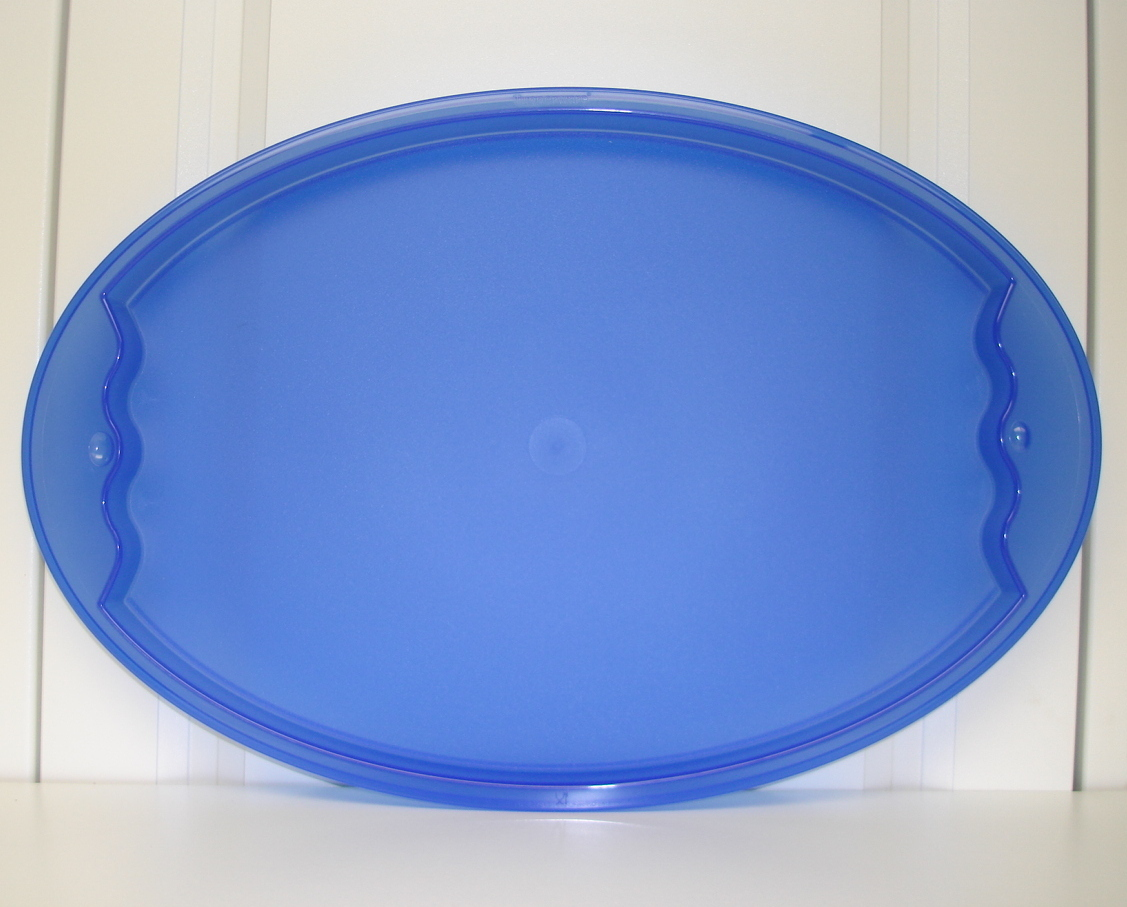 Tupperware Impressions Blue Oval Serving Platter Tray New