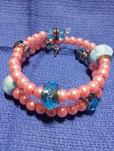 Pink and Blue beaded bracelet  - $12.00