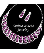 Purple crystal rhinestone formal party evening necklace set mother or th... - $17.81
