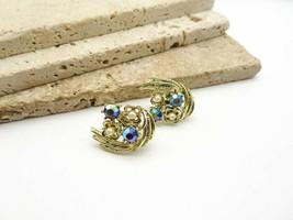 Vintage Coro Purple Blue AB Rhinestone Faux Pearl Gold Clip On Earrings L69 - $19.99