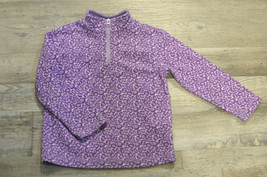 Hanna Andersson Girls Fleece Pullover 1/4 Zip Purple Animal Print Size 1... - $12.61