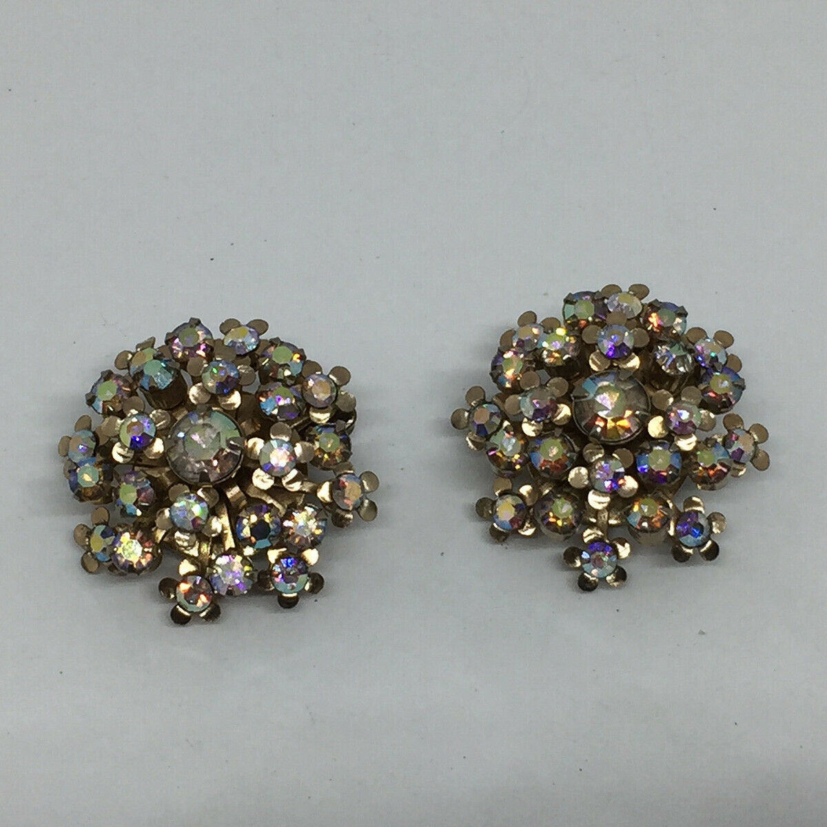 Vintage Signed Weiss Aurora Borealis Silver Tone Clip Earrings Stunning!