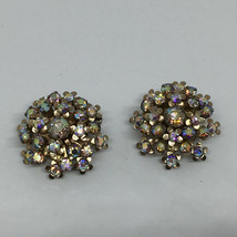 Vintage Signed Weiss Aurora Borealis Silver Tone Clip Earrings Stunning! - $39.99