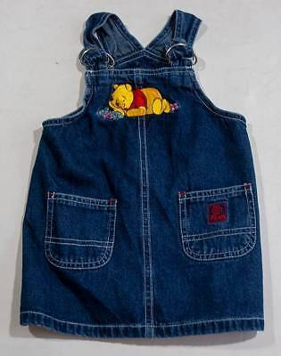 Primary image for DISNEY STORE GIRLS 12M  WINNIE THE POOH DENIM JUMPER DRESS 12 M 100% COTTON