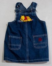 DISNEY STORE GIRLS 12M  WINNIE THE POOH DENIM JUMPER DRESS 12 M 100% COTTON - $8.41