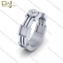 Robotic Style Wedding Band 0.25ct Solitaire Diamond Engagement Band 925 ... - €80,49 EUR+