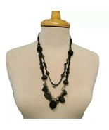 Black Necklace with Assort of Beads Wood Acrylic on Silver Tone Chain an... - $10.87