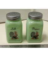 New Jade Green Glass Roosters Printed Salt and Pepper Shakers Art Deco Arch - $14.00
