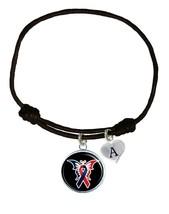 Custom Congenital Heart Defects Disease Awareness Black Leather Unisex Bracelet - $13.94