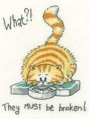 What? Cat's Rule 27ct Evenweave Kit cross stitch kit Heritage Crafts