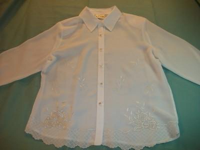 WOMEN K.C. STUDIO CAREER DRESS SHIRT SIZE 12 IVORY NWT