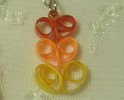 Handcrafted Paper Quill  Triple Orange Hearts Earrings