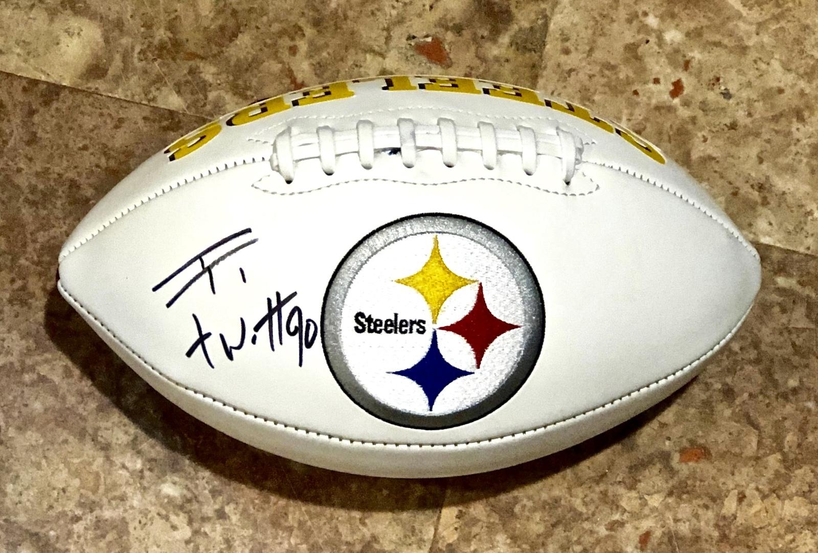 TJ WATT AUTOGRAPHED Hand SIGNED PITTSBURGH STEELERS LOGO FOOTBALL w/COA  - $149.99