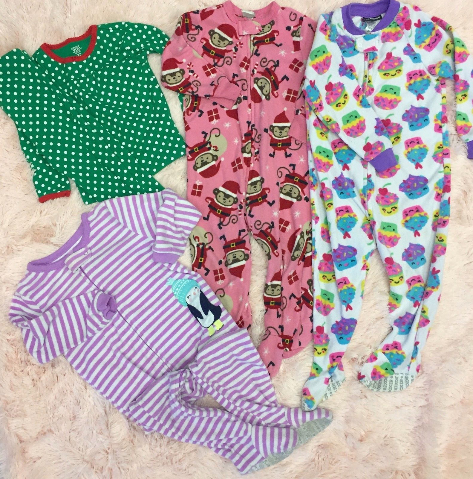 lot of 4 carter s baby girls fleece sleepers and 50 similar items
