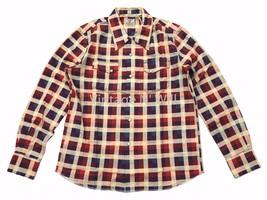 466d8350 Levis Vintage LVC Jean Men M Shorthorn Beige Red Plaid Western Flannel Shirt  - $122.55