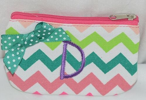 GANZ Brand Multi Color Chevron Monogram D Coin Purse With Green Polka Dot Bow