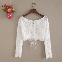 Lace Tops Long Sleeves Off-Shoulder Lace Crop Top White Bridesmaids Shirt US0-30 image 2