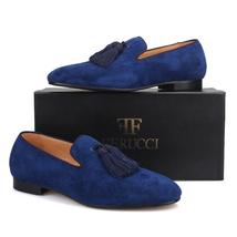 Handmade Men FERUCCI Navy suede with Big Navy Tassel Slippers loafers Flat - $169.99