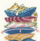 Too Comfortable Cat's Rule 14ct Aida Kit cross stitch kit Heritage Crafts