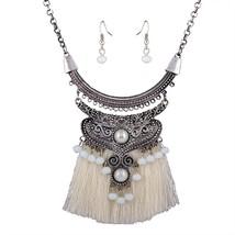 Vintage Fashionable Jewelry Sets Women Resin Pendant 4 Colors Tsssel Nec... - $13.14
