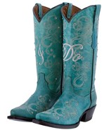 Cowboy Boots Women Wedding I Do Rhinestones Floral Paisley Turquoise Sni... - €127,00 EUR