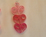Handcrafted Paper Quill Triple Pink Hearts Earrings