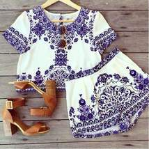 Hot  Tapestry Print Two Piece Top + Short Set - $29.70