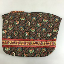 Vera Bradley Colette Black Cotton Quilted Makeup Bag Case Plastic Lined - $18.13
