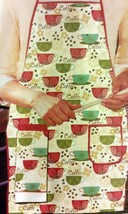"Fabric Kitchen Apron w/ pocket, w/ towel, 23"" x 36"", COFFEE CUPS & BEANS... - $12.86"