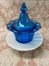 Vintage Imperial Glass Blue Open Lace Covered Candy Dish - $19.80