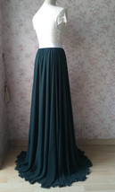 Dark Green Plus Size Maxi Chiffon Skirt Dark Green Bridesmaid Maxi Chiffon Skirt image 9