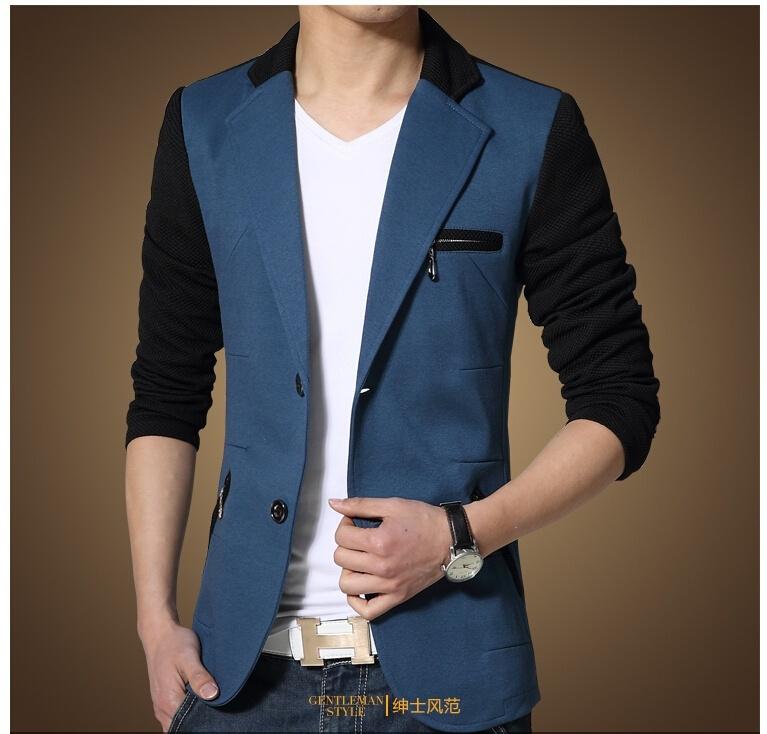 2018 New Arrivals Men's Fashion Colors Splicing Slim Fit Suit Male Dress Blazers