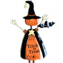 Black & Orange Halloween Trick or Treat Pumpkin Head Witch Hanging Sign image 2