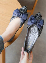 Women's Gray Crystal Shoes Soft Rhinestones Ballet Flats Jeweled Shoes - £39.12 GBP