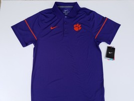 NEW SMALL Clemson Tigers Nike Dri-Fit Purple Polo Shirt Paw Logo Golf SS - €43,93 EUR