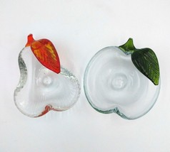 ICET Arte Murano Glassworks Apple and Pear Art Glass Dish Bowl Clear Gre... - $37.39