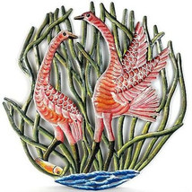 "Hand Cut Painted Cranes Metal Wall Art 24"" Indo... - $89.99"