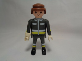 1997 Playmobil Fireman Firefighter Grey Uniform Male Replacement Figure  - $1.56