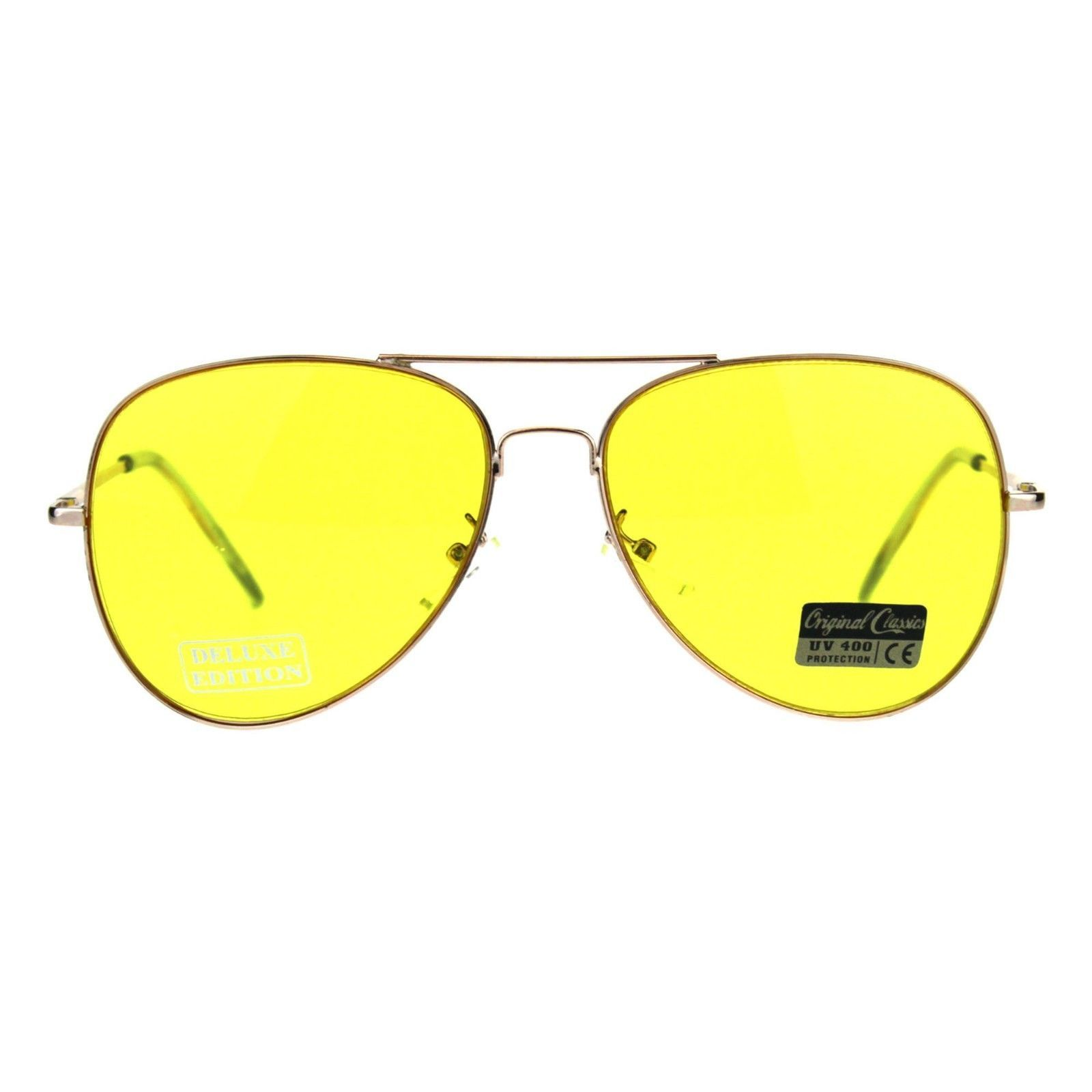 Air Force Aviator Sunglasses Classic Metal Frame Spring Hinge Yellow Lens