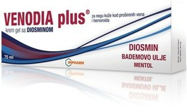 Venodia plus cream gel with diosmin for veins and hemorrhoids 75g - $24.75