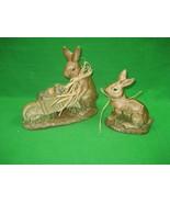 Vintage Pair of Ceramic Porcelain Bunny Rabbit Statue Figurines & Wheelb... - $13.98