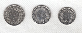 Switzerland coin set - 1 Franc 1994 + 20 Rappen 1985 + 10 Rappen 1975.  ... - $14.99