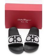 NIB Salvatore Ferragamo Black Groove X Gancini Studded Pool Slide Sandal... - $248.00