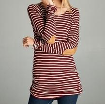 Burgundy Striped Top, Burgundy Striped Shirt, Shirred Striped Top, Womens