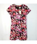 Japna Floral Shift Dress Womens Size M Medium Above Knee Zipper Short Sl... - $14.83