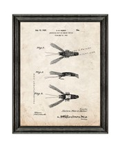 Fishing Artificial Bait Patent Print Old Look with Black Wood Frame - $24.95+