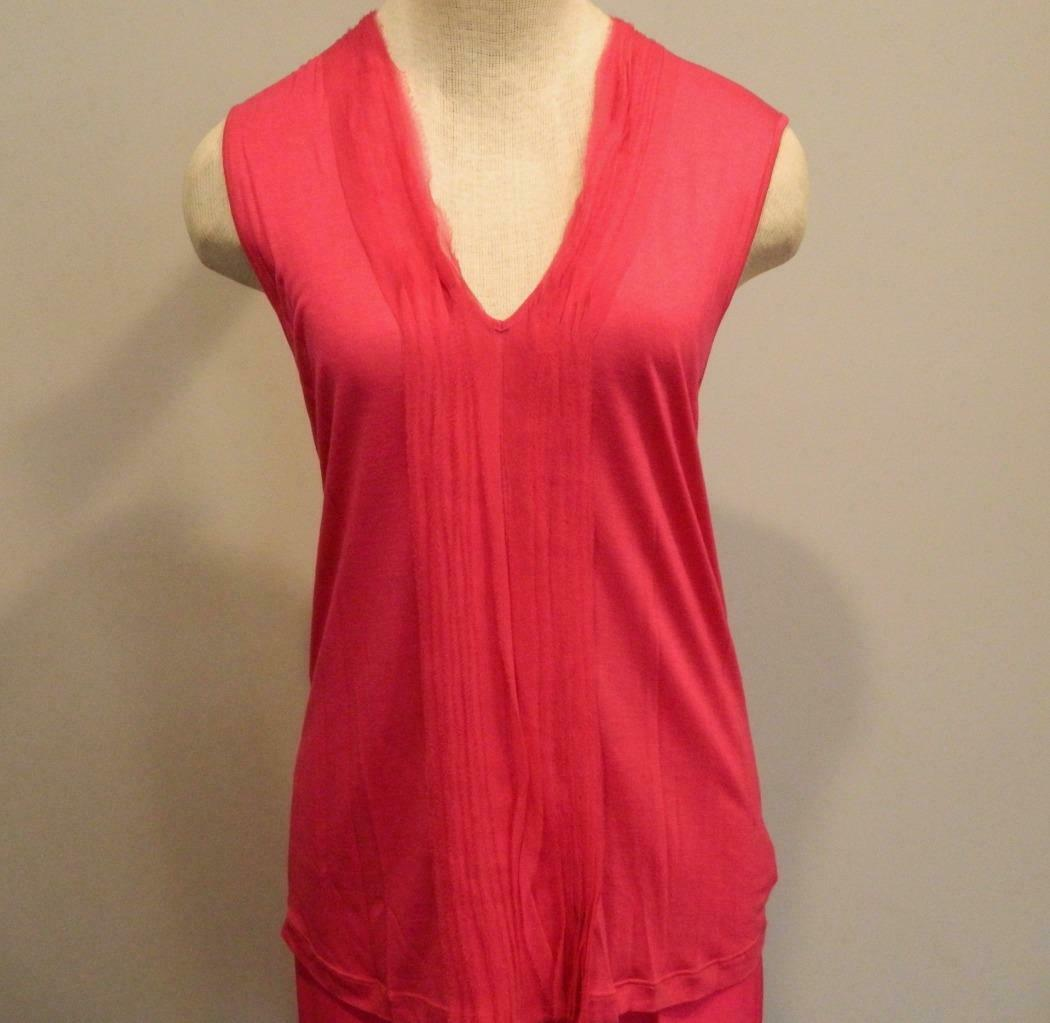 Primary image for Apostrophe Top Shell Silk Trim Pleated Sleeveless Pink M France NEW