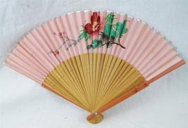 Vintage Bamboo Flower Print Folding Fan - $7.91