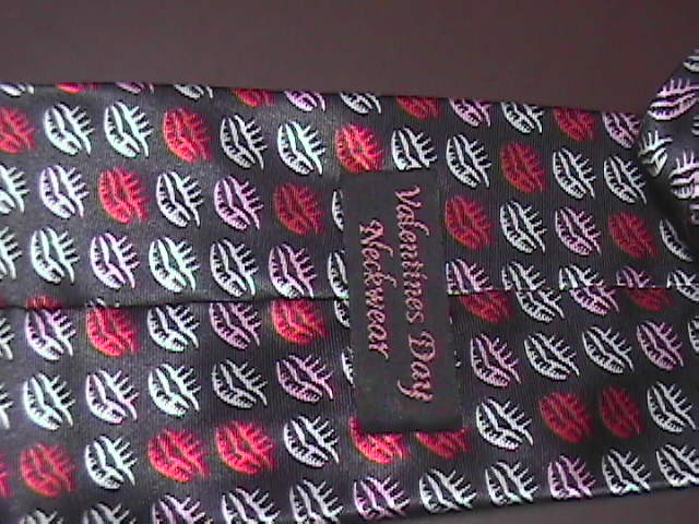 Big Wet Kisses Neck Tie Black with Silver and Red Lip Prints