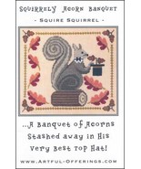 Squirrely Acorn Banquet cross stitch chart Artful Offerings  - $9.00